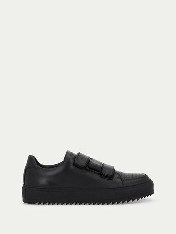 Sneakers en cuir avec pattes auto agrippantes