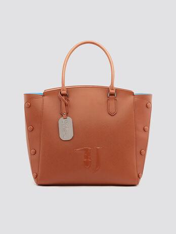 Einkaufstasche Melissa aus Kunstleder mit Ziersteinen
