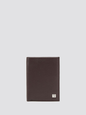 Grainy effect vertical wallet with logo