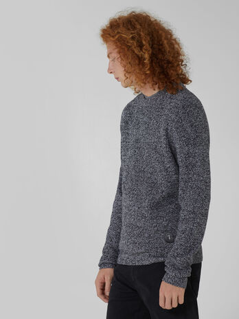 Regular fit mouline wool and cashmere pullover