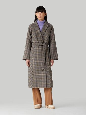 Cappotto in mista lana check con cintura