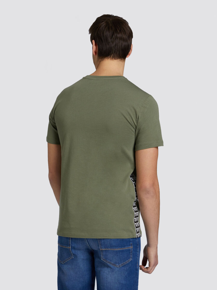 Regular fit jersey T shirt with contrasting band