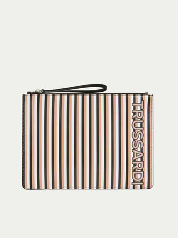 Flat leather clutch with striped print and lettering