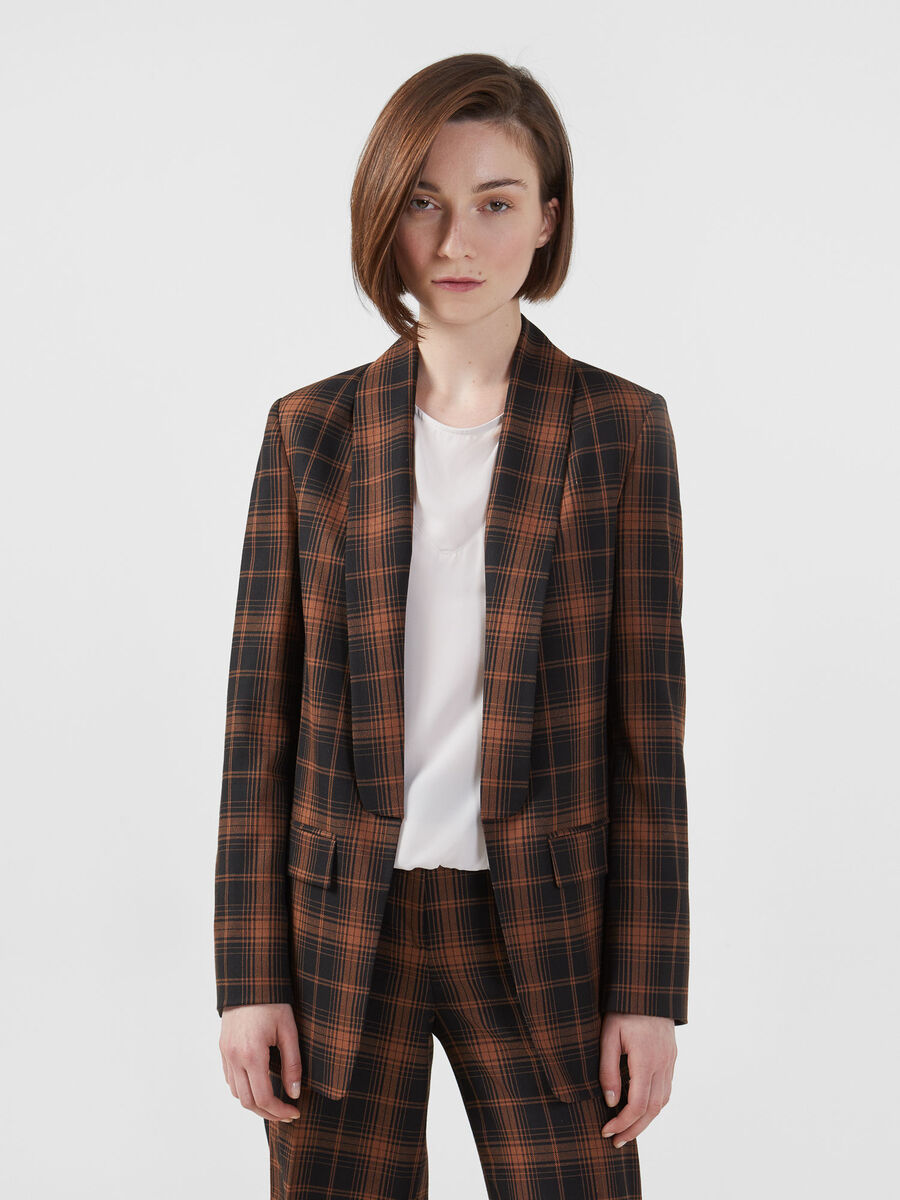 Chequered fabric blazer with tape detail