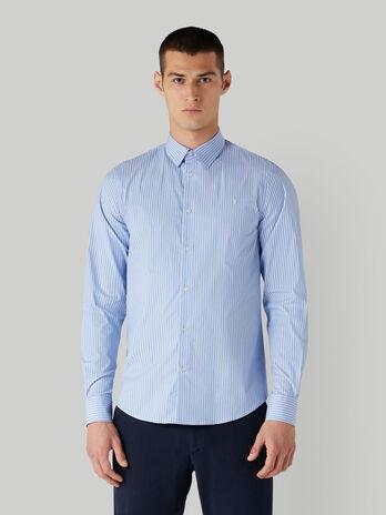 Camisa de corte regular a rayas con cuello italiano