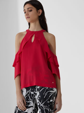 Blusa in georgette double con volant