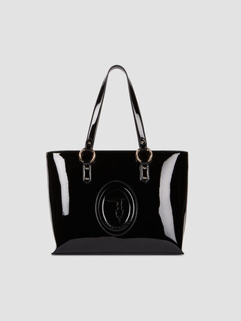 Medium patent leather shopper with logo