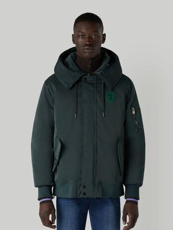 Technical satin bomber jacket with hood
