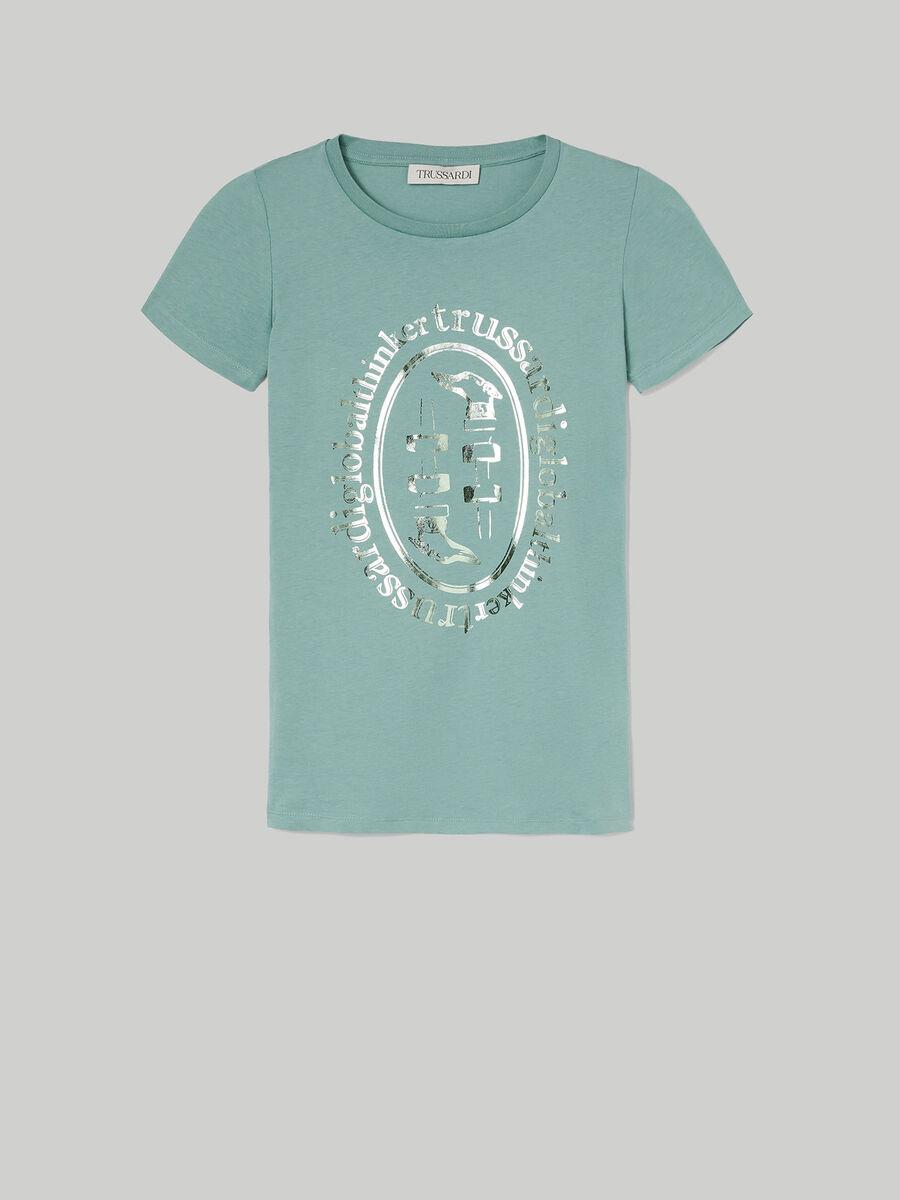 T-shirt slim fit in cotone con stampa laminata