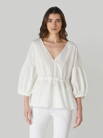 Bluse aus Baumwollpopeline mit V-Ausschnitt