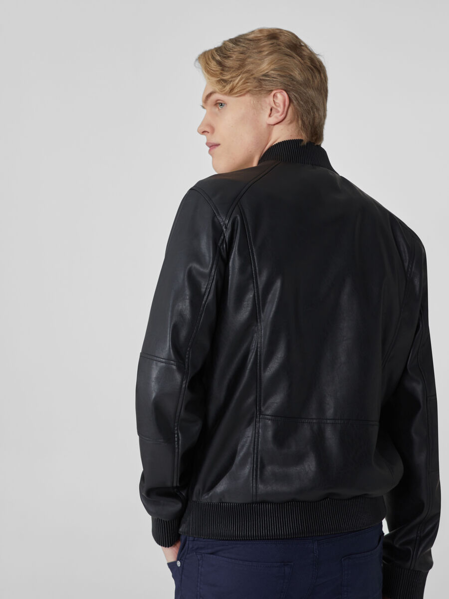 Bomber jacket in soft faux leather
