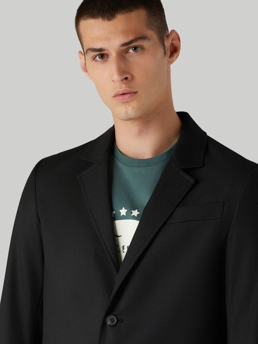Single-breasted gabardine blazer
