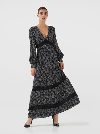 Long crepon dress with graphic print