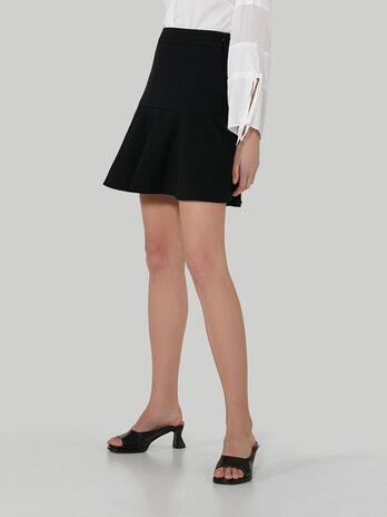 Short compact jersey skirt