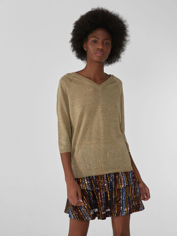 Lurex V-neck jumper