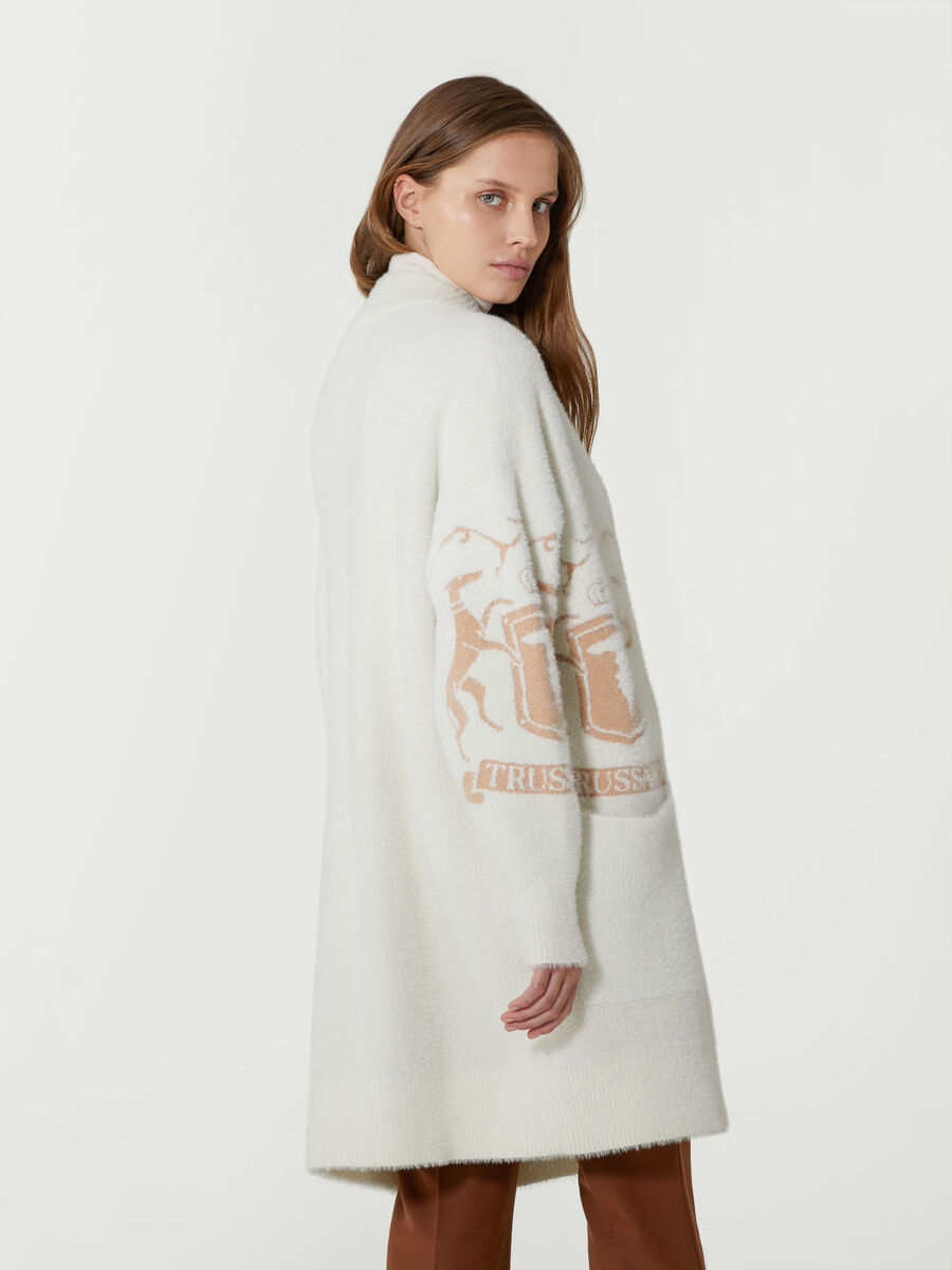Oversized cardigan with contrasting logo