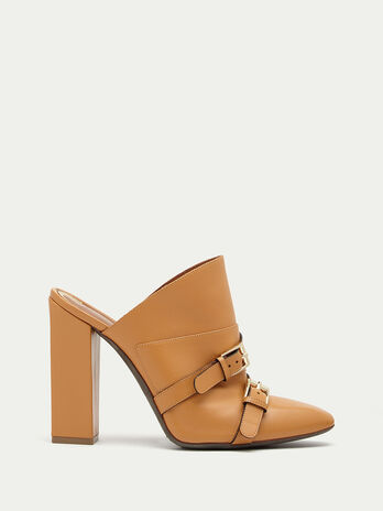 Leather mules with buckle details