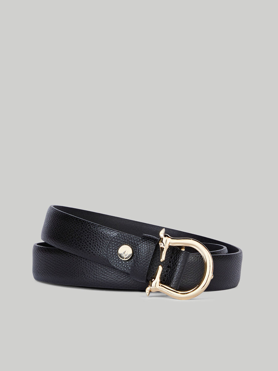 Boarded leather belt with Levriero buckle