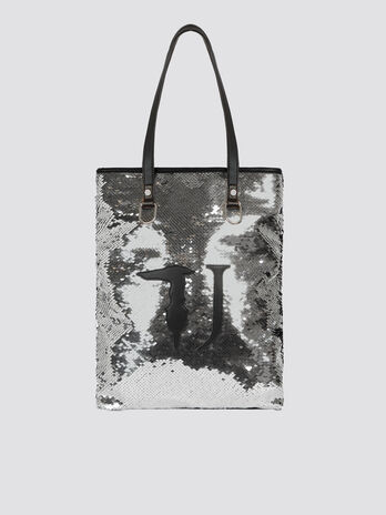 Sequinned small T-Wow Night handbag with logo detail