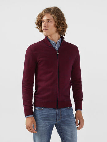High neck zip up pullover in a two tone wool blend