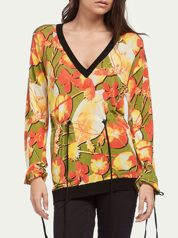 Floral pullover in silk and cotton