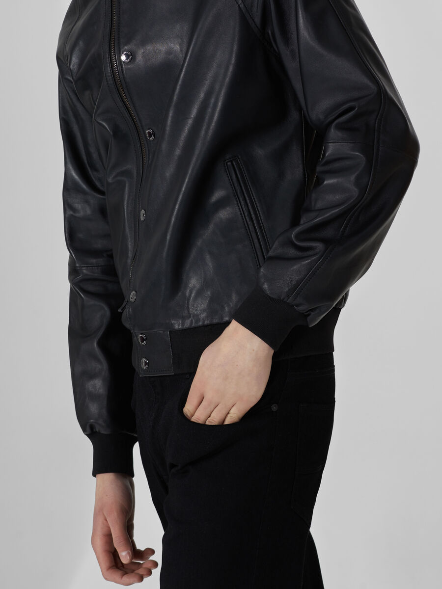 Bomber jacket in soft-touch leather