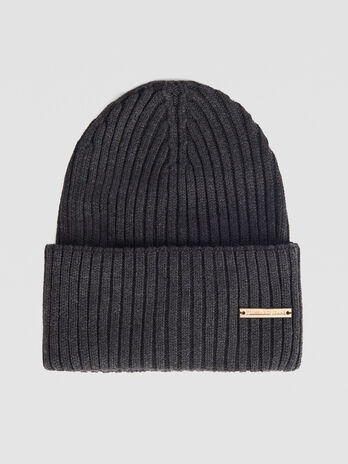 Ribbed cashmere blend hat