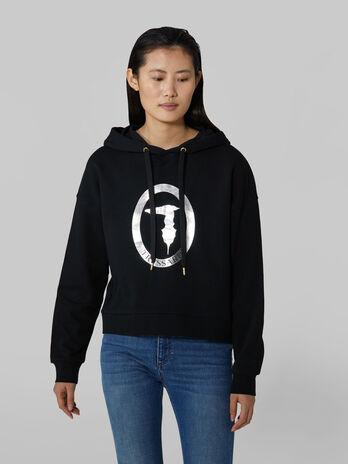 Cotton hoody with laminated monogram
