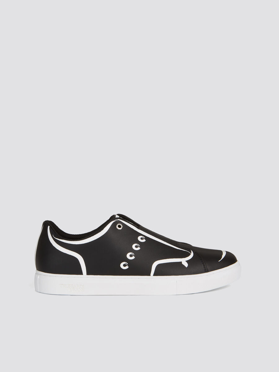 Two tone painting style faux leather sneakers