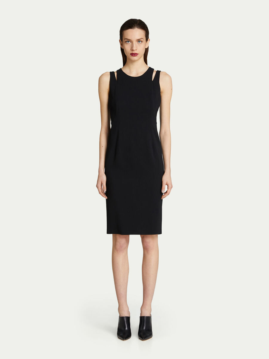 Solid colour sleeveless dress in viscose cady