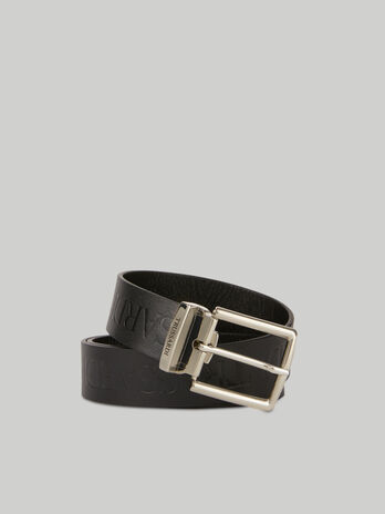 Leather belt with raised lettering