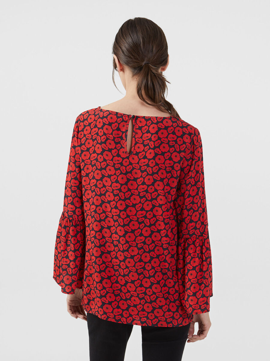 Viscose crepe blouse with all over print