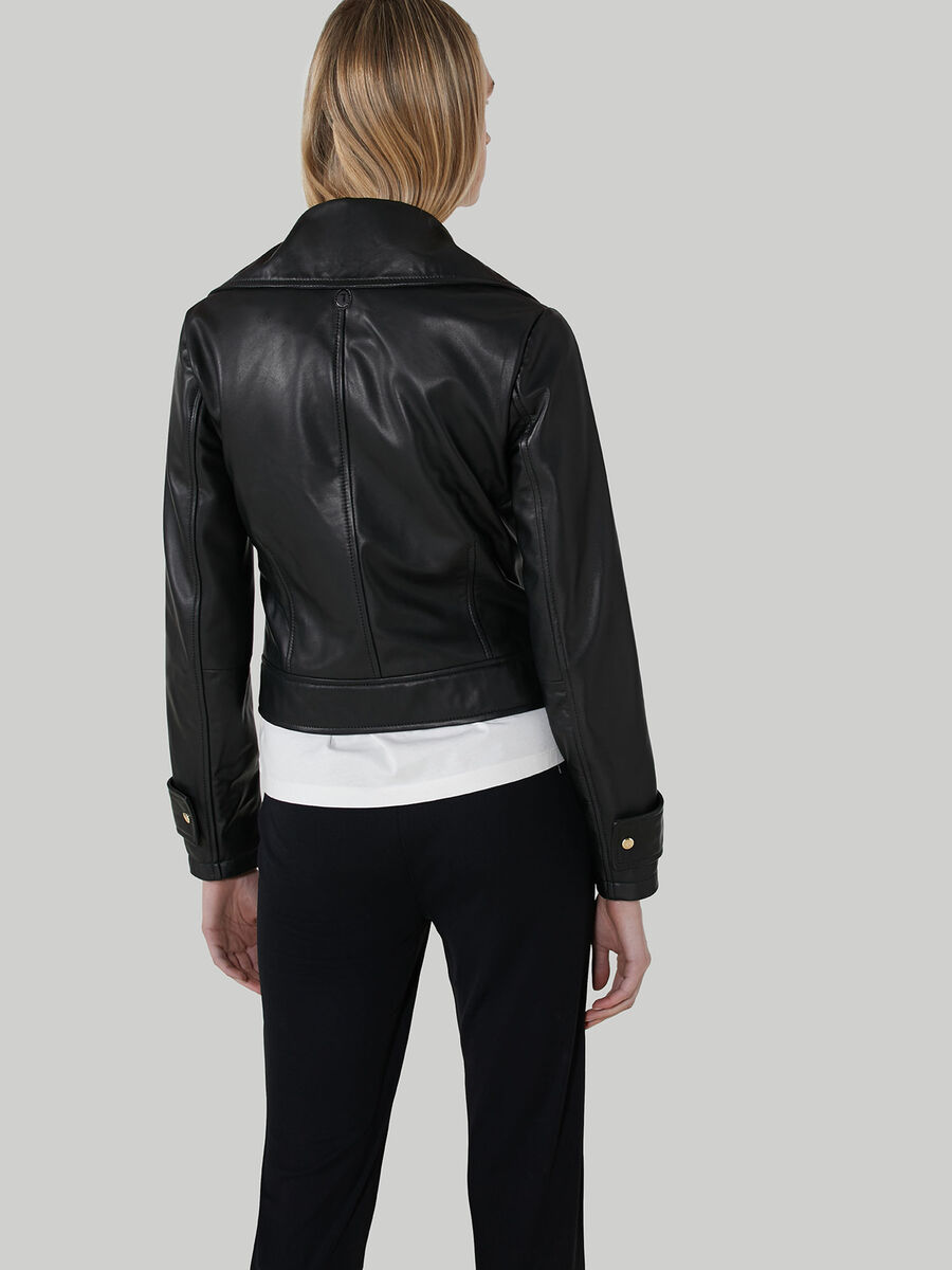 Biker jacket in soft-touch leather