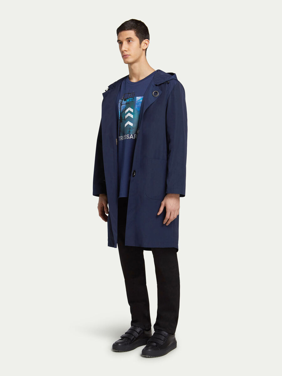 Solid colour hooded duffel coat