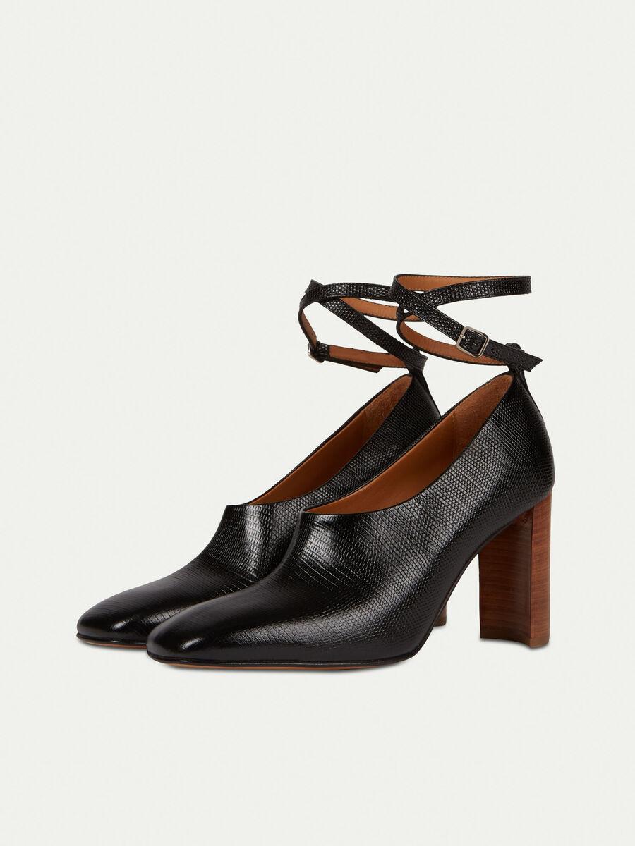 Zapato de salon de piel estampado lagarto