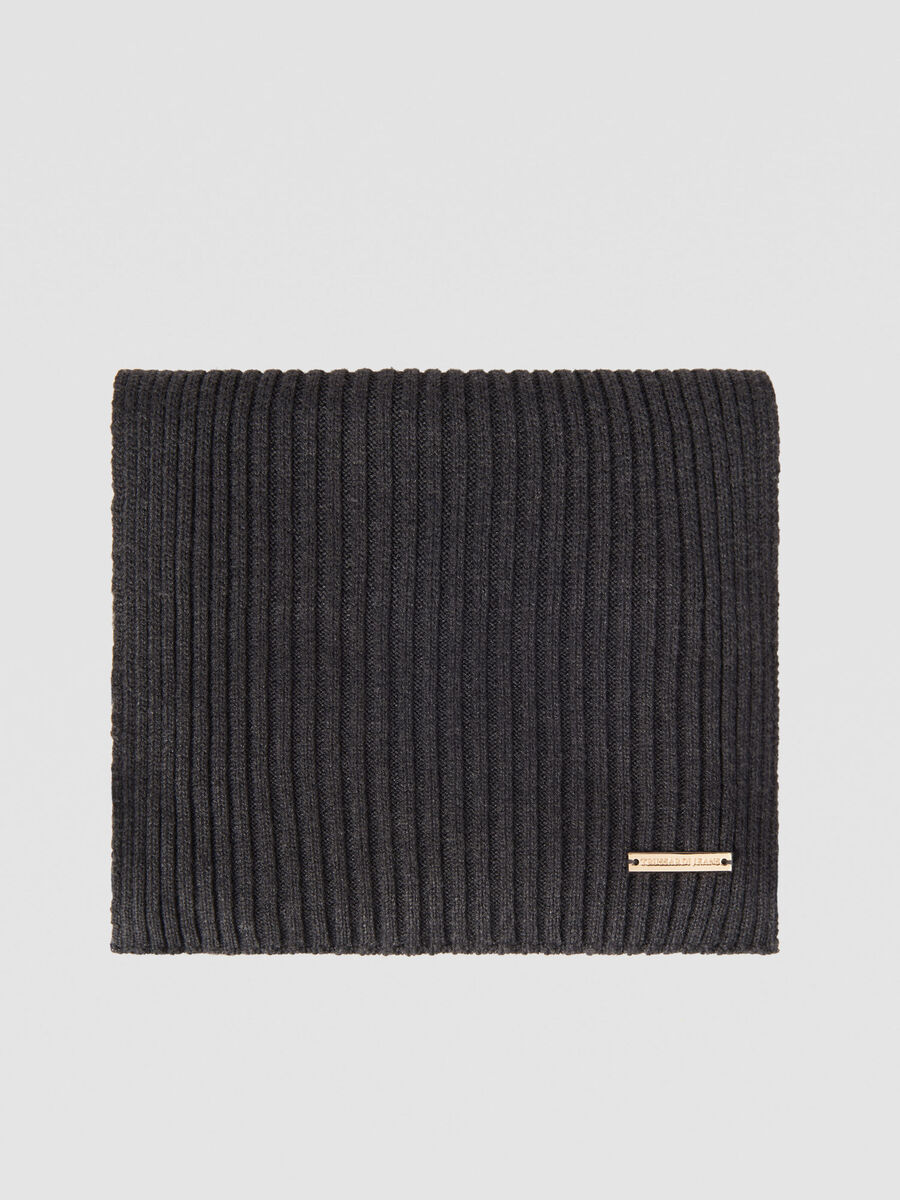 Ribbed cashmere blend scarf