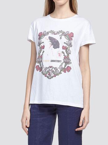 T shirt con stampa struzzo floreale
