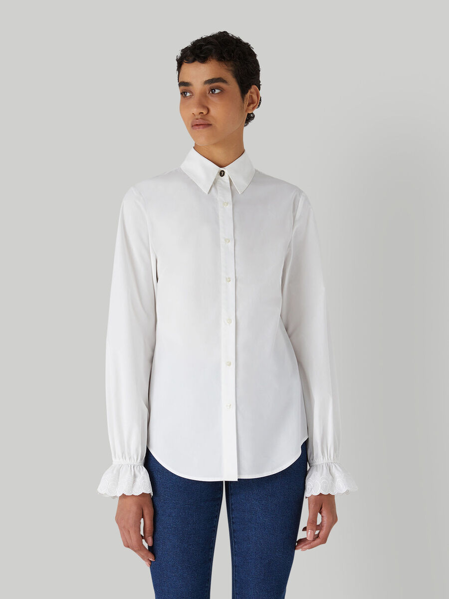 Cotton shirt with gathered cuffs
