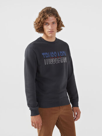 Cotton sweatshirt with maxi logo