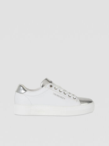 Smooth leather sneakers with laminated inserts