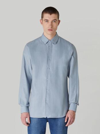 Regular-fit cotton micro-textured shirt