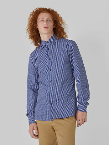 Regular fit patterned cotton button down shirt