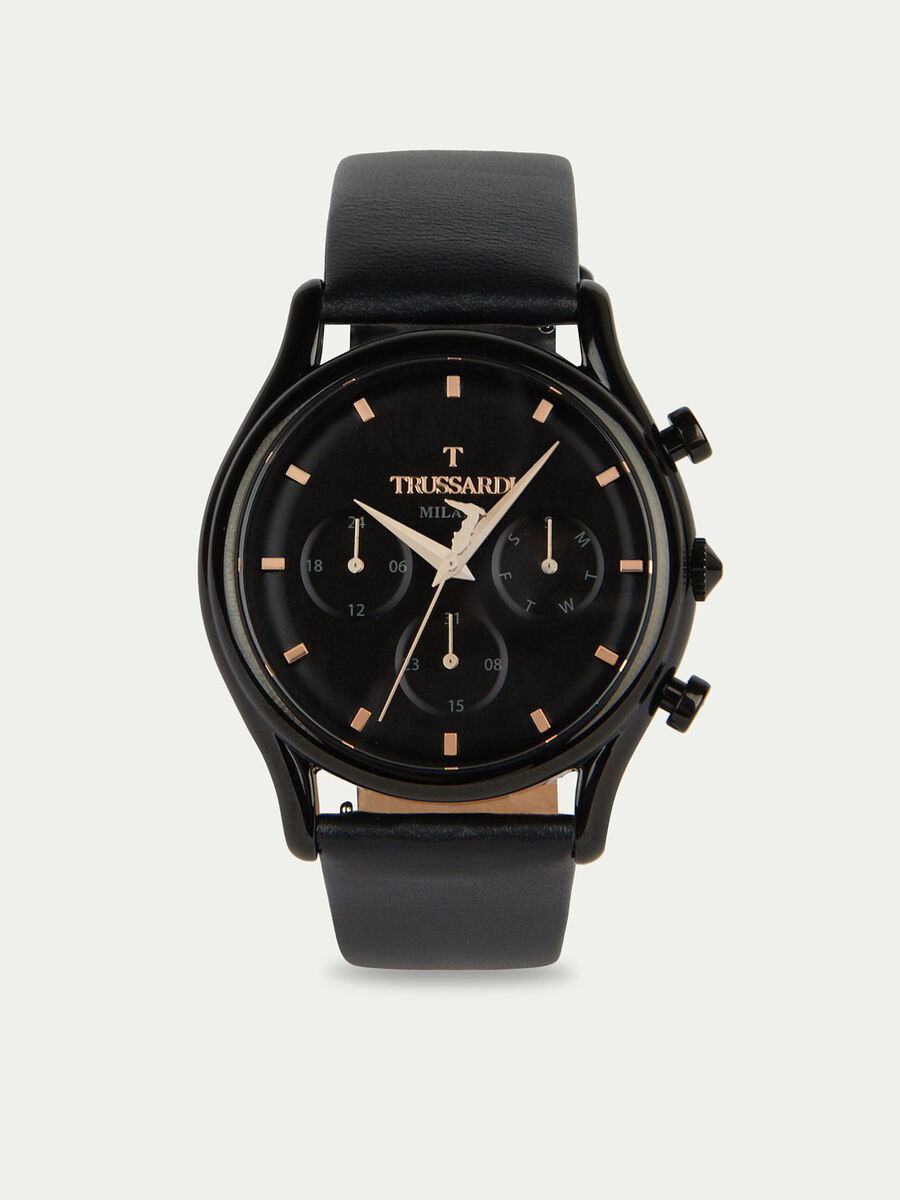 T-Light chronograph watch with leather strap