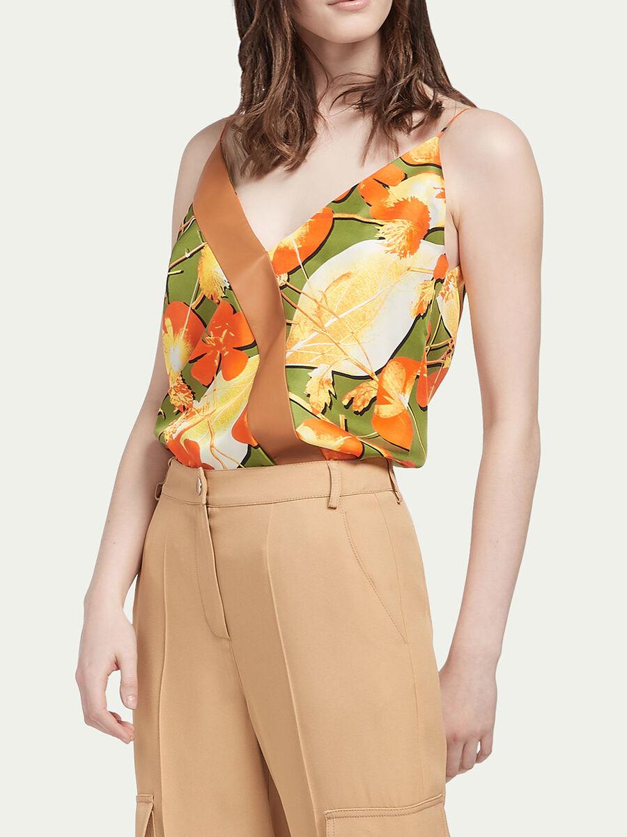 Blusa in twill di seta floreale
