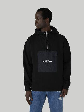 Anorak-Sweatshirt im Over-Fit aus Baumwolle