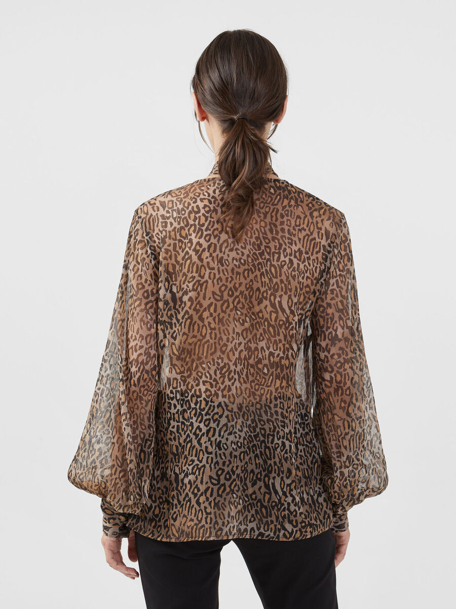Animal print Georgette blouse with pussy bow
