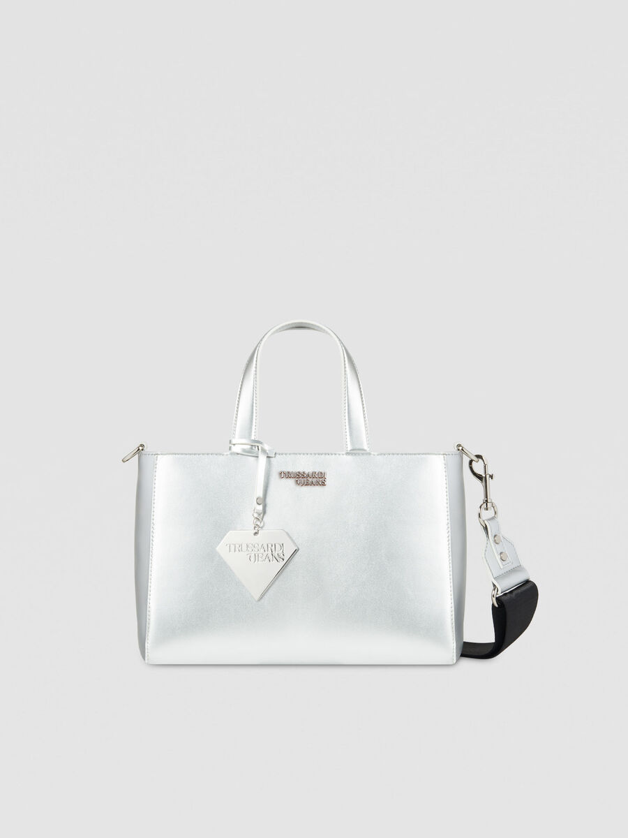 Tote Bag T-Easy Diamond medium in similpelle con charm