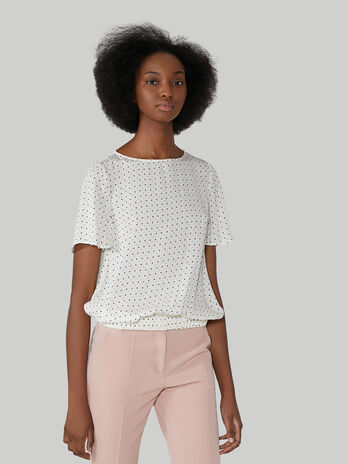 Viscose blouse with polka-dot print
