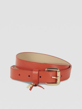 Leather belt with logo charm
