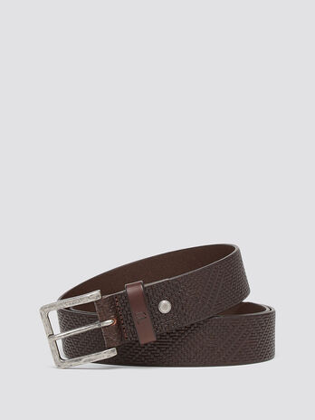 Woven leather belt with branded intarsia